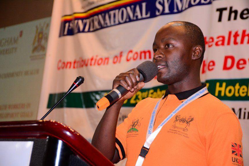 Man speaking at CHW symposium