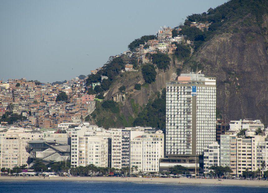 View of coastal apartment blocks in Brazil