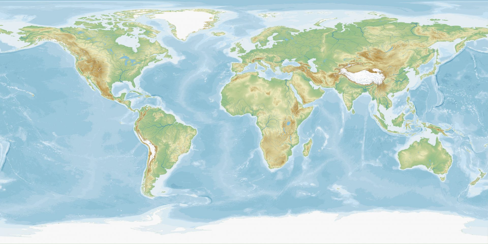 Equirectangular map of the world