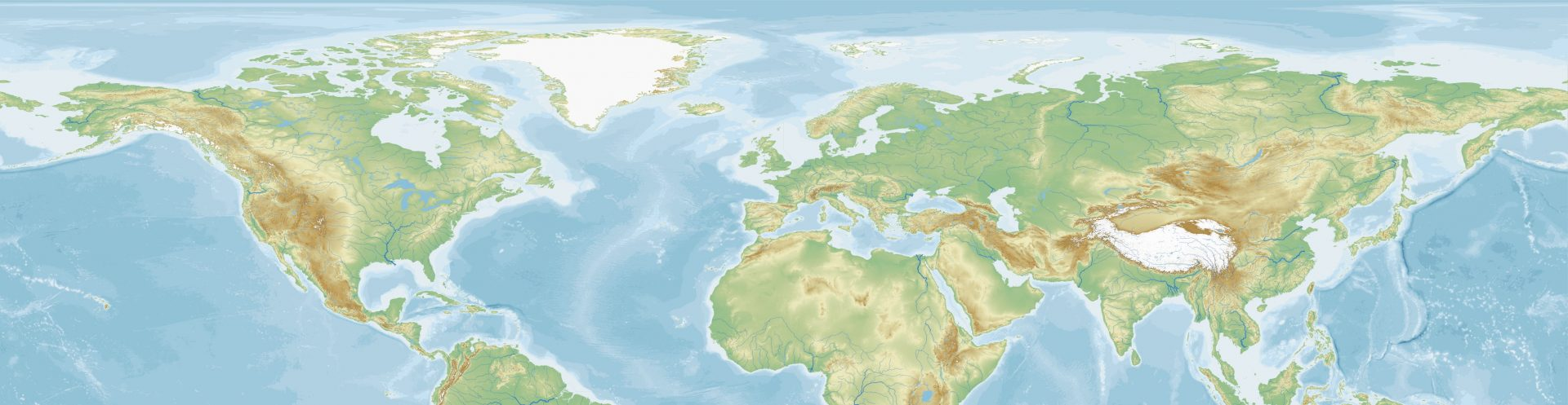 Equirectangular map of the world with a focus on the Northern hemisphere