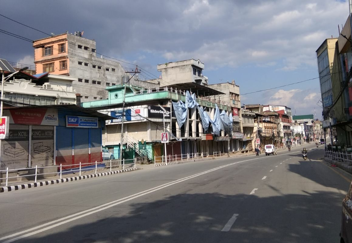 The streets of Kathmandu during the COVID-19 lockdown. There are no cars or people on the road.