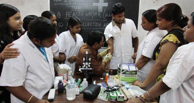 Medical students in a classroom in India